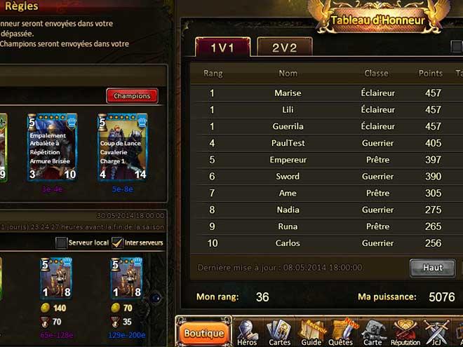 Kings & Legends Capture d'écran du tableau de classement